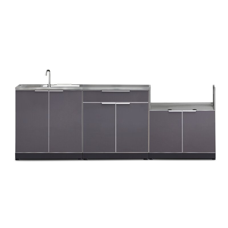 3 Piece Modular Kitchen Package With 33 In Grill Insert Cabinet And Sink