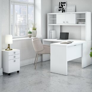 Kathy Ireland Office by Bush Echo 4 Piece L-Shape Desk Office Suite with Hutch and Mobile File Cabinet