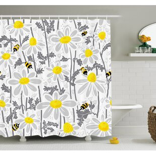 Daisy Flowers With Bees In Spring Time Honey Petals Floret Nature Purity Bloom Shower Curtain Set by Ambesonne Today Sale Only