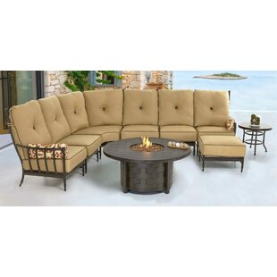 Provence 9 Piece Fire Pit Set Seating Group with Sunbrella Cushions by Leona