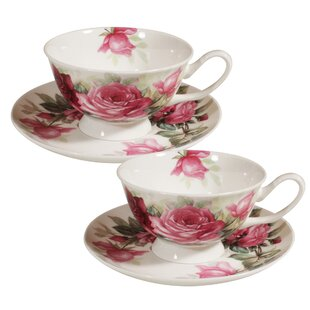 Polla Splash Rose Bone China Teacup and Saucer