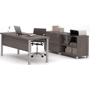 Mercury Row Ariana 3-Piece U-Shape Desk Office Suite