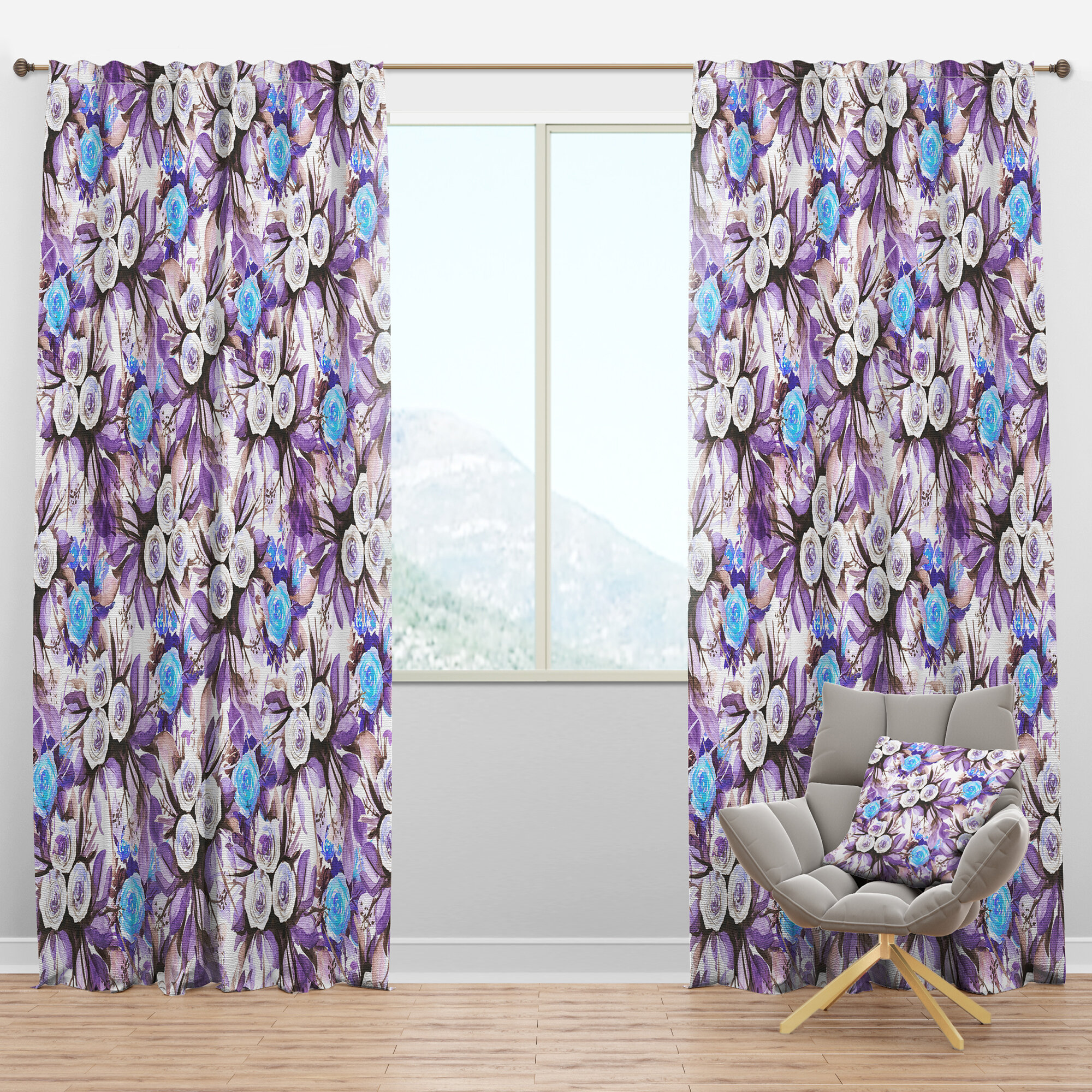 Designart Floral Semi Sheer Thermal Rod Pocket Single Curtain Panel Wayfair