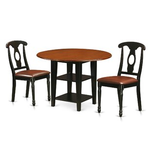 Charlton Home Tyshawn 3 Piece Drop Leaf Breakfast Nook Dining Set