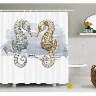 Reviews Animal Seahorse Lovers in Paintbrush Artisan Technique Grunge Splash on Background Shower Curtain Set By Ambesonne