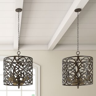 Fleur De Lis Living Basswood 4-Light Pendant