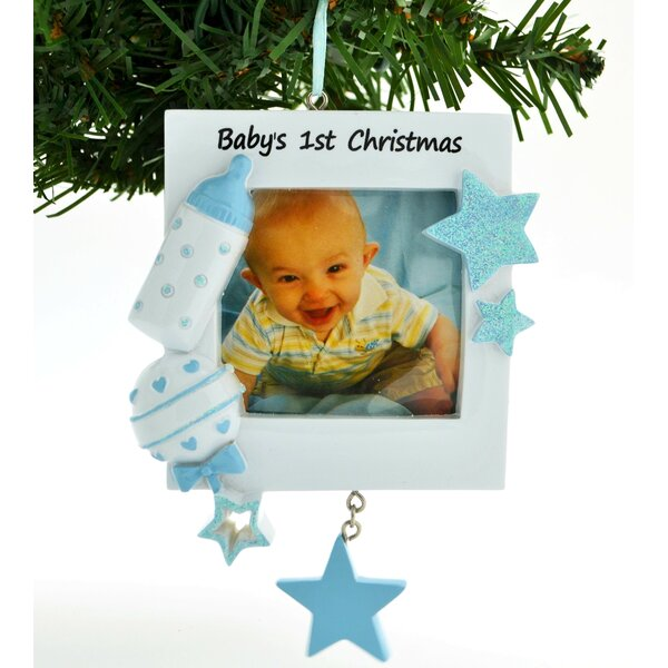 personalized by santa blue frame babys first ornament wayfair
