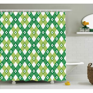Sallie Striped Retro Flower Motif With Cross Line Groovy Old Fashion Print Single Shower Curtain