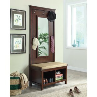 Red Barrel Studio Kalicki Hall Tree with Storage Bench and Mirror