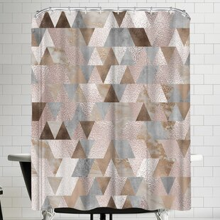 Grab My Art Chic Rose Gold Marble Copper Triangle Single Shower Curtain