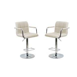 Aronson Adjustable Height Swivel Bar Stool (Set of 2) Orren Ellis