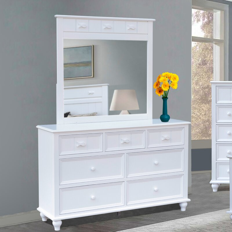 Rosecliff Heights Remer 7 Drawer Double Dresser With Mirror