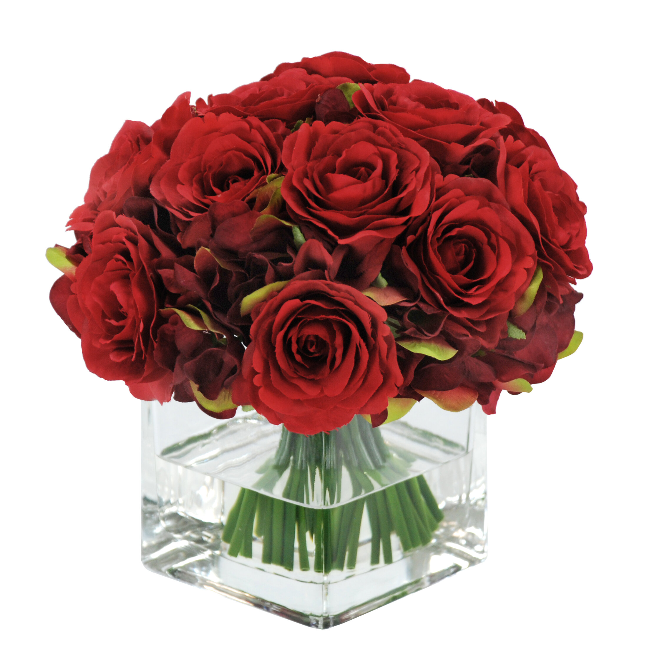 Winward silks rose bouquet in square vase floral arrangements winward silks rose bouquet in square vase floral arrangements reviews wayfair reviewsmspy