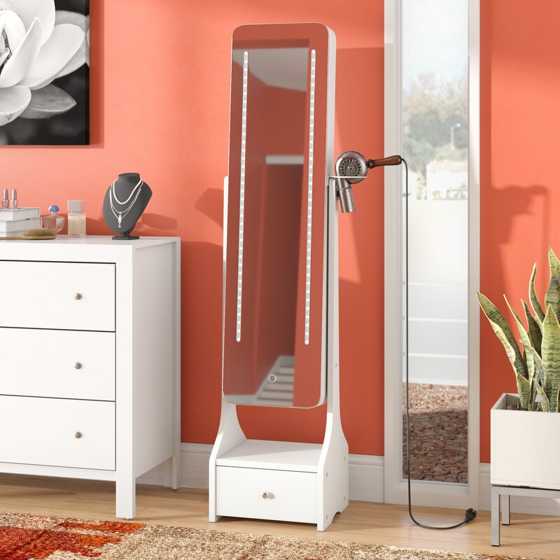 Charlcombe Touch Screen LED Free Standing Jewelry Armoire with Mirror