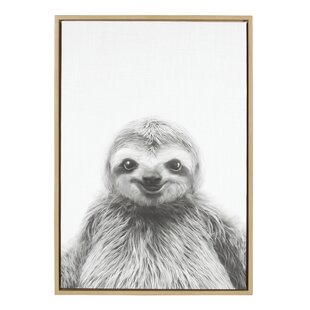 Animal Print Sloth Portrait Framed Photographic On Wred Canvas