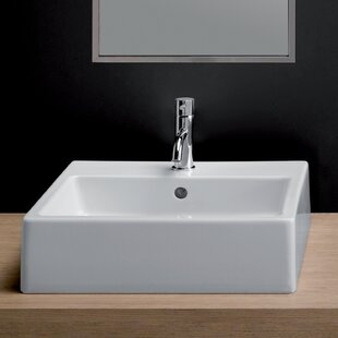 Read Reviews Area Boutique Ceramic 19 Wall Mount Bathroom Sink with Overflow By Bissonnet