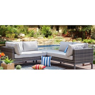 Goodrich 3 Piece Rattan Sofa Seating Group with Cushion