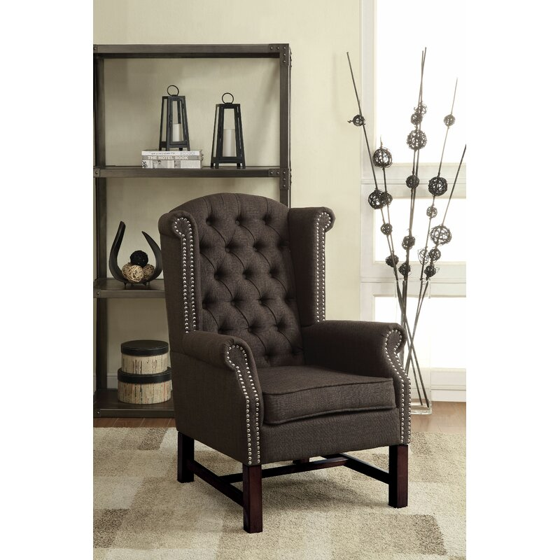 Canora Grey Eisenbarth 34 Wide Tufted Linen Wingback Chair Wayfair