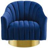 Raymon Swivel Barrel Chair by Everly Quinn