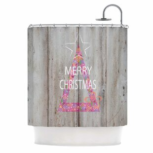 'Merry Christmas Tree' Mixed Media Single Shower Curtain