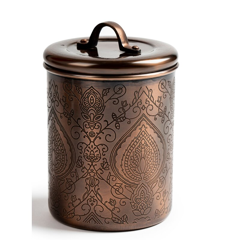 Industrial Style Hammered Copper Tea Coffee Sugar Biscuits Pasta Utensil Jars