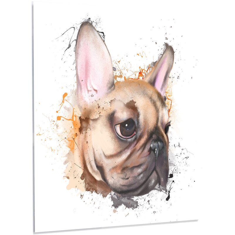 brown watercolor french bulldog led painting print on metal