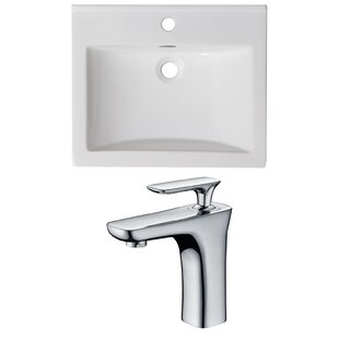 Reviews 1 Hole Ceramic Rectangular Drop-In Bathroom Sink with Faucet and Overflow By American Imaginations