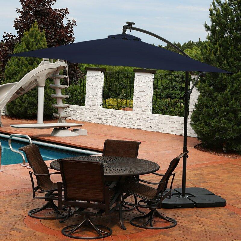 Freeport Park Kayleigh Offset Solar LED Patio 10\' Cantilever ...