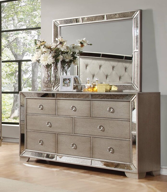 Willa Arlo Interiors Dowson 8 Drawer Dresser With Mirror Reviews Wayfair