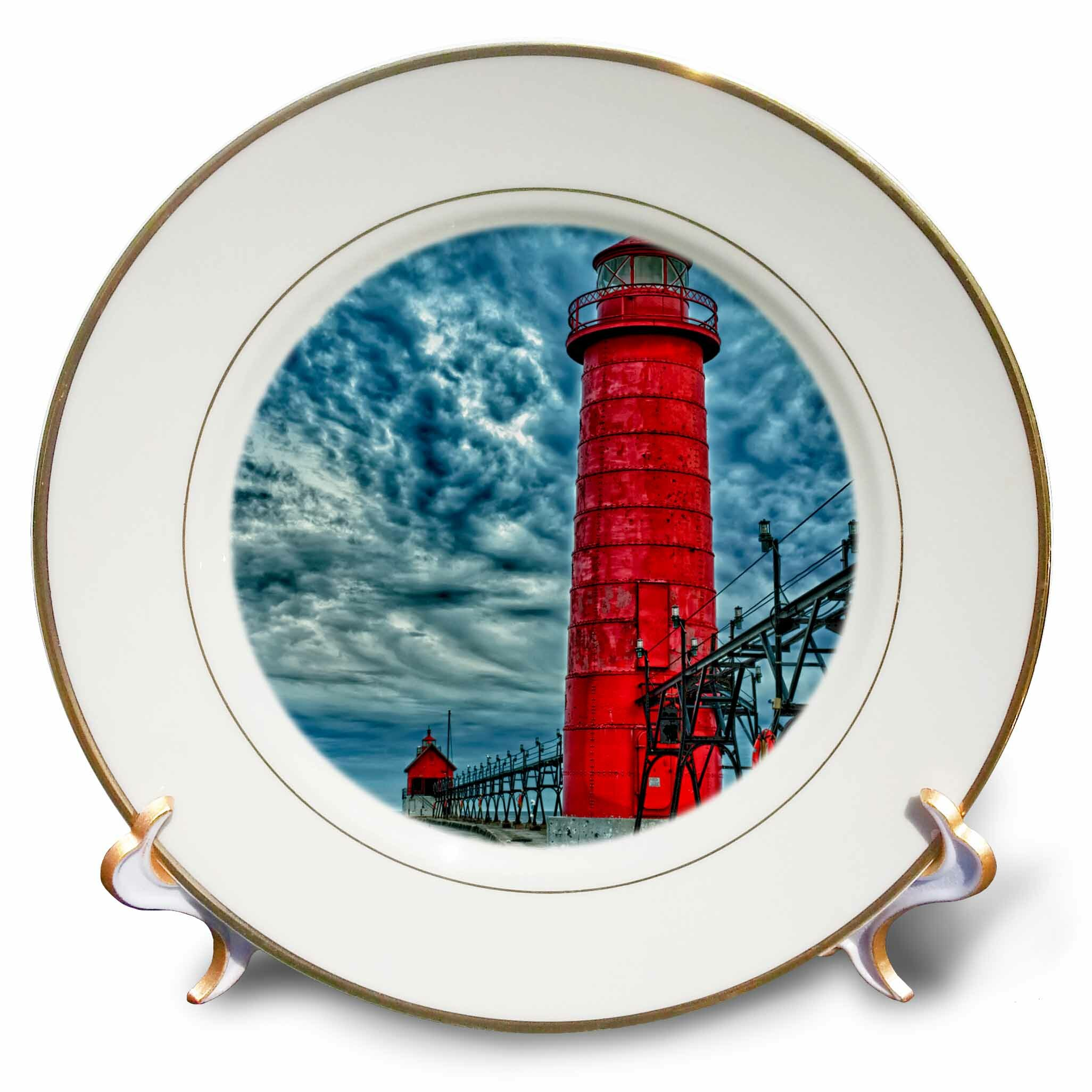 East Urban Home Usa Grand Haven Michigan Lighthouse Porcelain Decorative Plate Wayfair