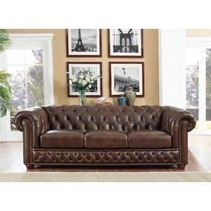 Walsh Leather Chesterfield Sofa by 17 Stories