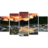 'Rocky Mountain River at Sunset' 5 Piece Wall Art on Wrapped Canvas Set