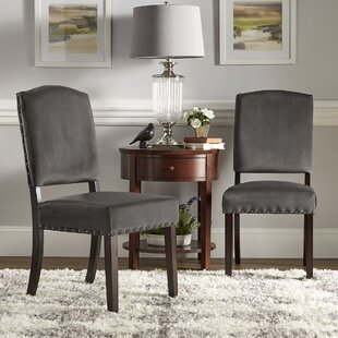 Pompon Velvet Nailhead Upholstered Dining Chair (Set of 2) Lark Manor