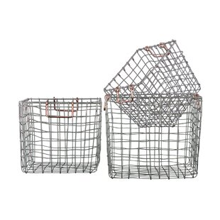 3 Piece Square Nesting Wire Basket Set by Urban Trends