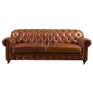 Khalil Leather 4 Seater Chesterfield Sofa By Williston Forge