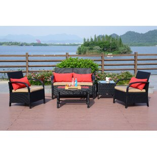 Turek 5 Piece Rattan Sofa Seating Group with Cushions (Set of 2)