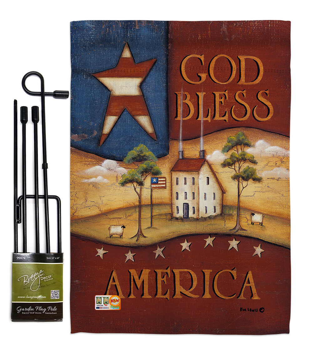 Breeze Decor God Bless America Americana Patriotic Impressions 2 Sided Polyester 19 X 13 In Flag Set Wayfair