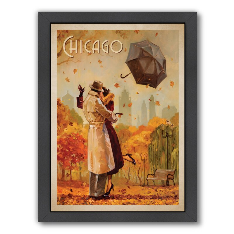 East Urban Home Windy City Kiss Framed Vintage Advertisement Wayfair