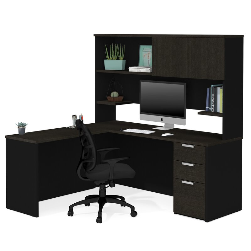 Kadian Modern Reversible L Shape Corner Desk With Hutch