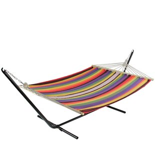 Lobos Striped Double Tree Hammock by World Menagerie