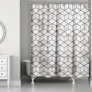 Bellamira Marble Geometric Cube Shower Curtain
