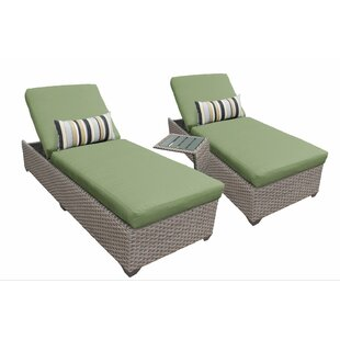 Reclining Chaise Lounge Set with Cushions and Table
