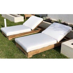 Orren Ellis Renn Teak Sunbrella Reclining Chaise Lounge with Cushion (Set of 2)