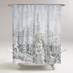 Magic Snow Trees Single Shower Curtain