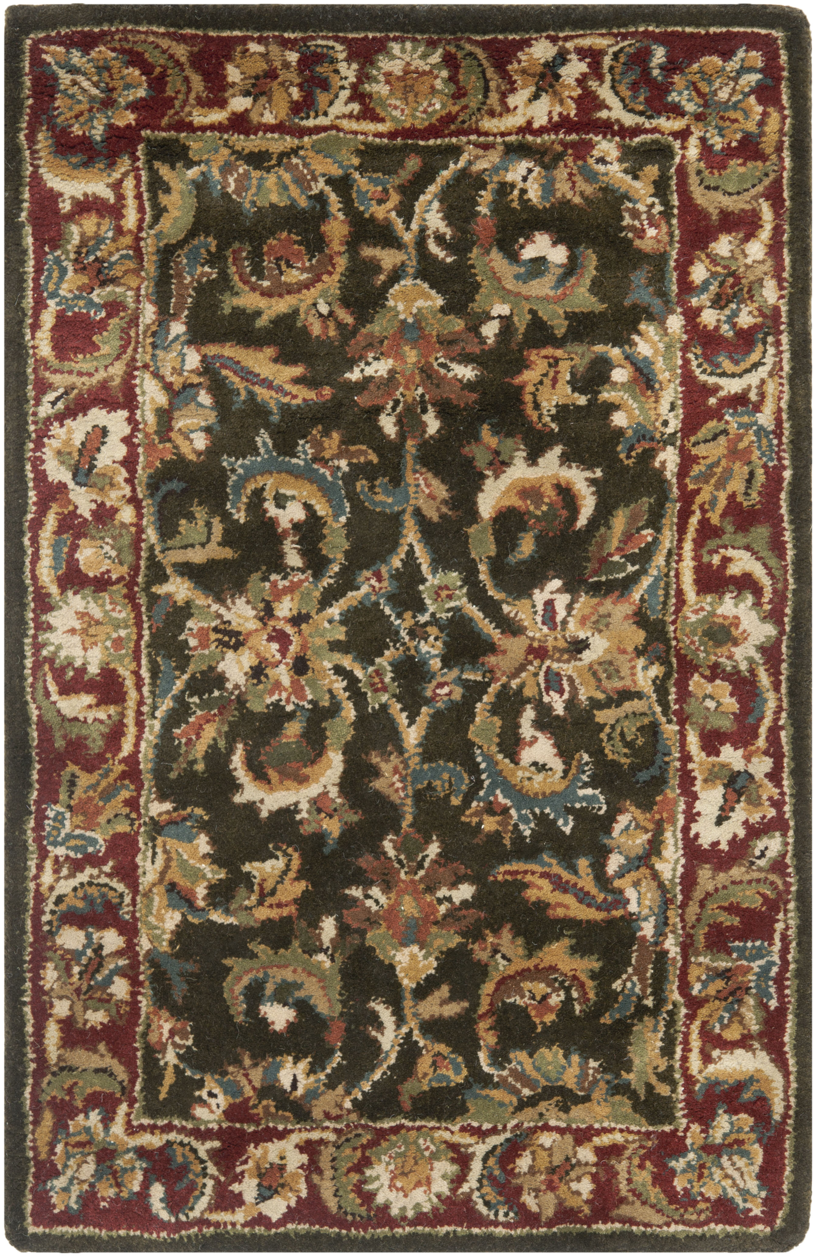 Safavieh Classic Hand Tufted Wool Dark Olive Red Area Rug Perigold
