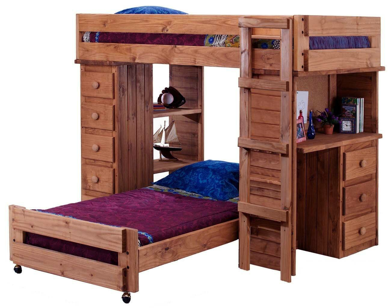 Chaves Student Twin Over Twin L Shaped Bunk Bed With Desk And Chest
