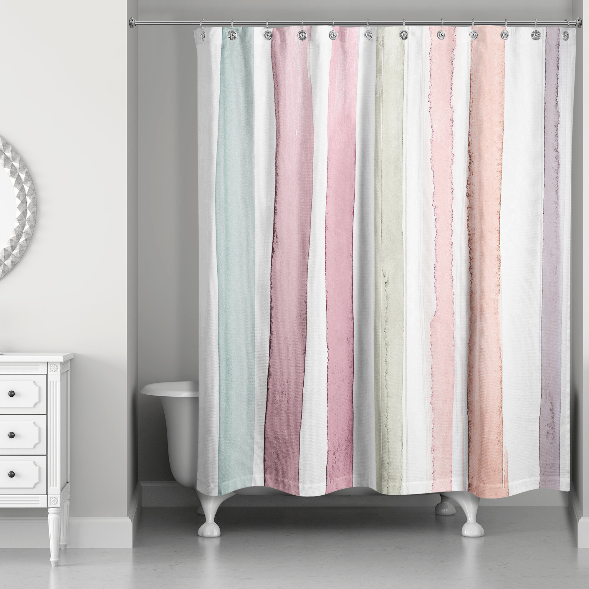 Newburn Watercolor Stripes Single Shower Curtain