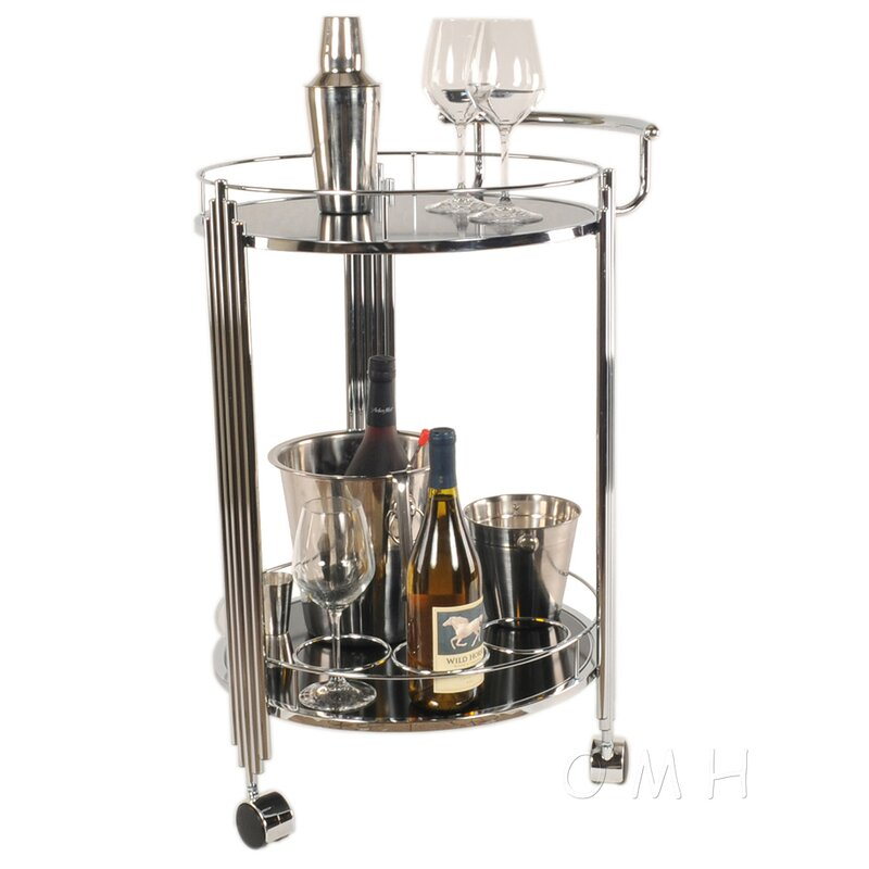 Round Tempered Glass Server Cart 33 in