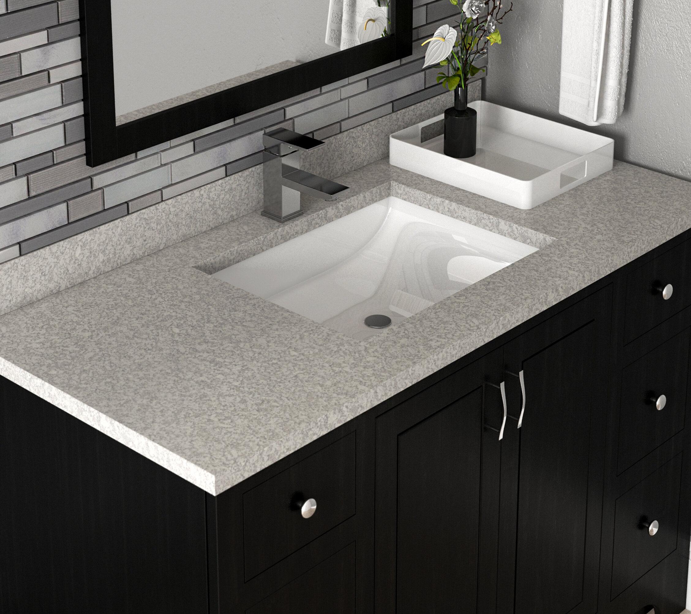 Design house wave bowl cultured marble 25 single bathroom vanity top wayfair ca