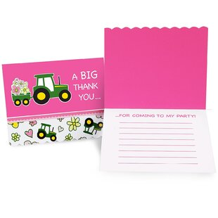 John Deere Paper Disposable Party Invite (Set of 8)